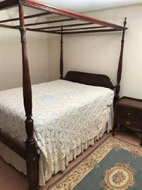Full Size Mahogany Rice Bed with Canopy