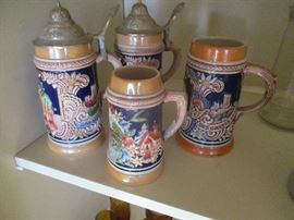 Collection of authentic German beer steins