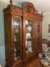 Full size amazing once in a life time antique display cabinet (breaks down into 9 pieces for moving)