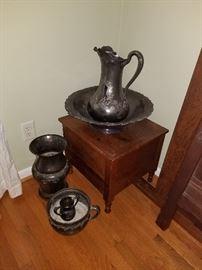 Metal washbowl, jug and bowl set