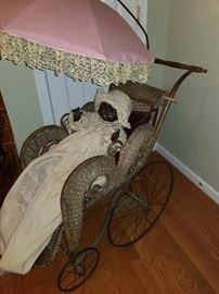antique bisque black baby in stroller