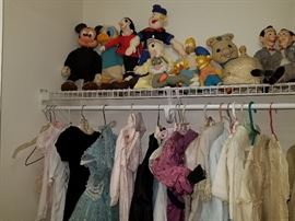 vintage and antique doll and children's clothing, stuffed toys including Donald Duck, Mickey Mouse, Popeye and Olive Oil, Homer and Bart Simpson, Pee Wee Herman