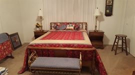 Beautiful early American maple full size bedroom furniture.