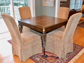 Leather top game table and 4 chairs