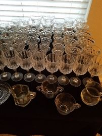 Sugar &Creamer is candle wick .Glass ware is in sets of 8 . Thier are water glasses tea glasses ,juice glasses  wine glasses