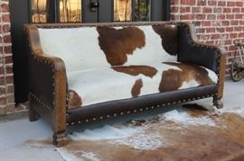 Antique American Empire Brazilian Cowhide and Leather Sofa