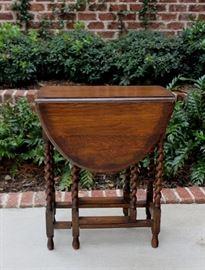 Antique English Oak Barley Twist Drop Leaf Gateleg Table