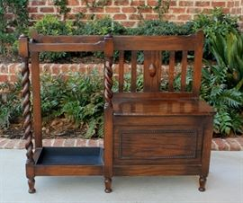 Antique English Oak Barley Twist Jacobean Bench with  Umbrella Stick Stand