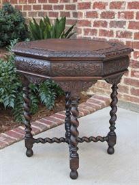 Antique French Oak Renaissance Revival Barley Twist Octagonal Table