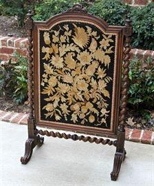 Antique English Oak Barley Twist Needlepoint Fire Screen