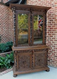 Large Black Forest Hunt Gothic Jacobean Cabinet or Bookcase with Lion Accents