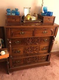 Gorgeous Walnut Dresser -- Hand Carved Detail