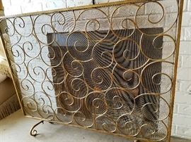 TWO designer fire screens from Horchow