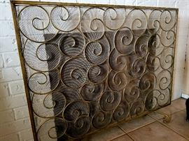 TWO designer fire screens by Horchow