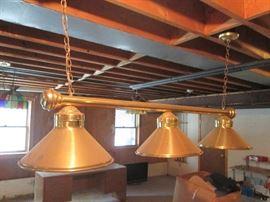 3 Shade Brass Handing Lamp Bar