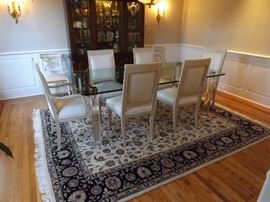 Pace Collection Leon Rosen Glass Top Table with Lucite legs. Persian 8x10 Rug. Leather Chairs sold separately.