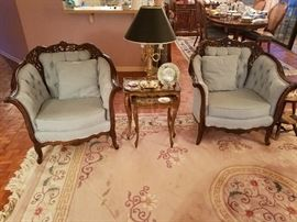 Antique chairs, nesting tables