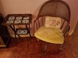 Mexican tile top trey table, vintage cane chair on casters