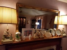 Labarge chinoiserie beveled mirror hand painted by Dee Wingard, porcelain vintage lamps
