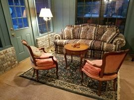 Hickory Chair Co. chairs, Baker round table, sleeper sofa,
