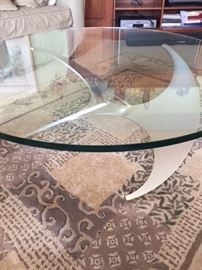 Cool coffee table w/ steel base and thick glass top