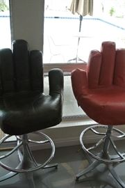 Dick Anderson Chairs.  Brown with red covers.
