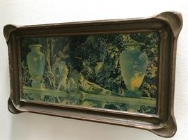 Maxfield Parrish print with period pie crust style frame!