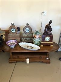 Vintage metal inlay clocks and barometer, gorgeous bronze nude clock, Limoges fish plate -