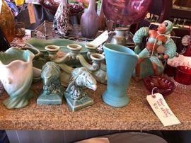 Blown Glass, Red wing, Rook, German made porcelains, Blown glass art glass, Van Briggle, Loetz