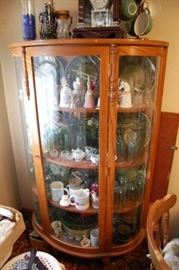 Antique Curved Glass Oak Curio Cabinet