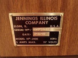 JENNINGS ILLINOIS COMPANY MODEL                              NO J400 2-21-1980     -    SLOT MACHINE