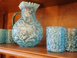 Fenton Aqua Blue Opalescent Daisy and Fern Pitcher and glasses