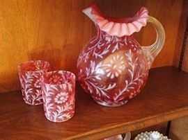 Antique Fenton Daisy and Fern Cranberry Opalescent Pitcher& glasses
