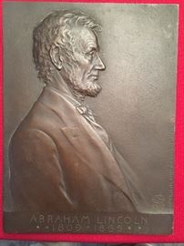 Bronze plaque by Victor David Brenner, designer of the 1918 Lincoln penny