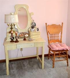 Vanity table; pressed back oak chair