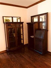 Oak Bookcase,  Walnut side by side.  Both need tlc.