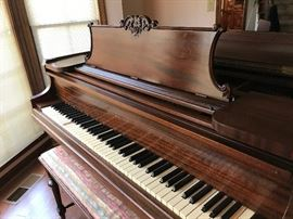 Hallet, Davis & Co Grand Piano -missing ivory on one of the keys.