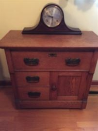 EARLY CHEST AND ANTIQUE  MANTLE CLOCK