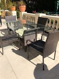Brown Jordan Patio Table and 4-chairs (chairs are not Brown Jordan) $648; Pottery Barn formed plaster shell $95; assorted planters and pots ($28-85)