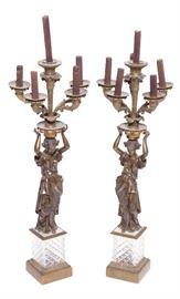 2. Pair Napoleon III Figural Bronze Candelabra