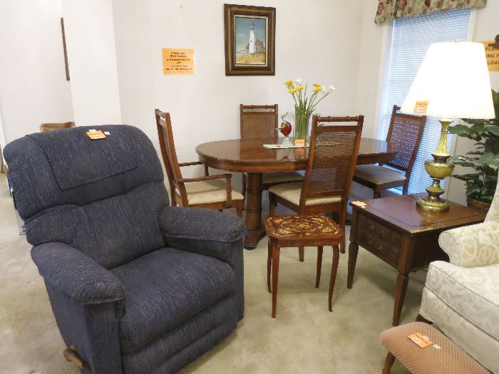 Rocker/Recliner, Swiss Inlaid Lift Top Reuge Music Table, Oval Dining Room Table With Cane Back Chairs