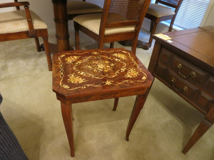 A Closer Look At The Swiss Inlaid Lift Top Reuge Music Table. It's Has A Nice Look!