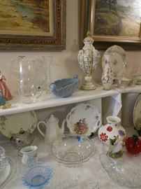 Vintage Light Blue Console Bowl, Beautiful Keramos Capodimonte Urn, Vase Made In Germany, Plus Many More Lovely Items.