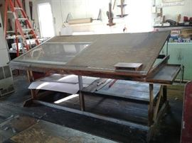 ARCHITECTUAL TABLE -- GREAT FOR DESIGNERS   15 FT X 4 FT -ABOUT  HAS SECOND SHELF TO LAY ADDITIONAL TOOLS DOWN,  VERY STURDY, MUST SEE.