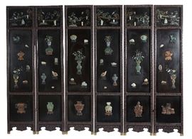 7. Chinese Six Panel Black Lacquer Screen