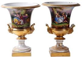 12. Pair Paris Porcelains Urns