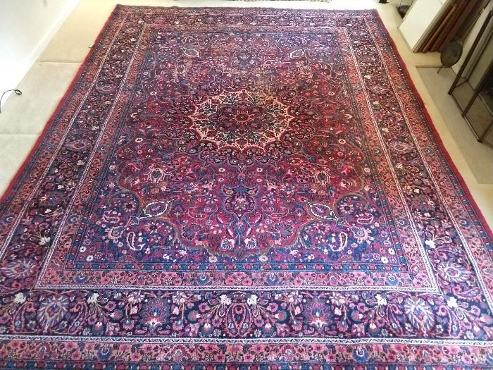 "Vintage Persian Meshad rug, hand woven, 100% wool face, measures a room-gobbling 10' 6"" x 13' 6""."