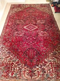 "Fantastic vintage Persian Heriz rug, hand woven, 100% wool face, measures 11'  x  6' 8""."