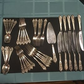 """41 Piece STERLING """"Rosepoint"""" Flatware set by Wallace.  This is a """"1 Spoon, 2 Forks & 1 Knife set"""" with service for 10 total! One Spoon has some slight damage, but it's easy to replace. A bonus service piece is included too! So fancy!"""
