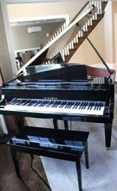 Black Baby Grand Piano and Bench